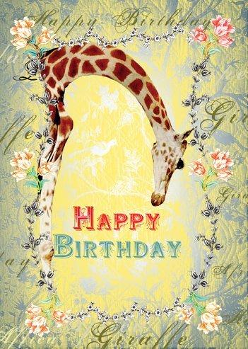 Happy Birthday Giraffe Greeting Card By Mimi Amazon Kitchen