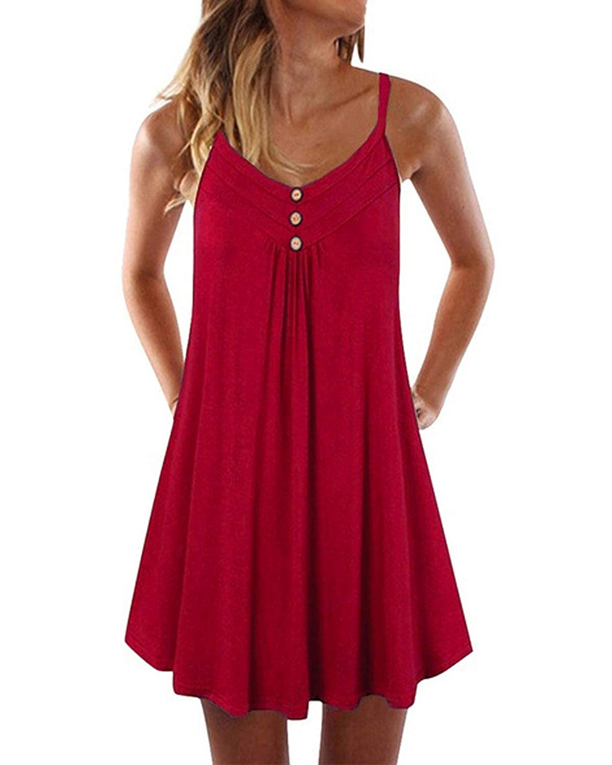 VooSaa Womens Sleeveless Strap Dresses Casual A Line Mini Dress