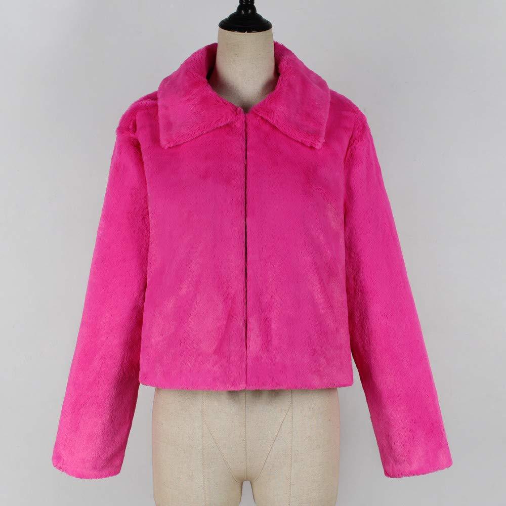 Long Winter Jackets for Women Plus Size,Women Coat Lapel Collar Faux Fur Coat Warm Winter Coat Overcoat Outercoat