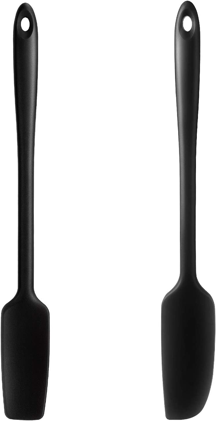 2 Pieces Long Handle Silicone Jar Spatula Non-Stick Rubber Scraper Heat Resistant Spatula Silicone Scraper for Jars, Smoothies, Blenders Cooking Baking Stirring Mixing Tools, Black