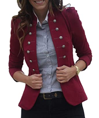 5059433d3 Ziaesm Women Double Breasted Fitted Solid Colored Fashion Blazer Jacket  Coat Wine Red XL
