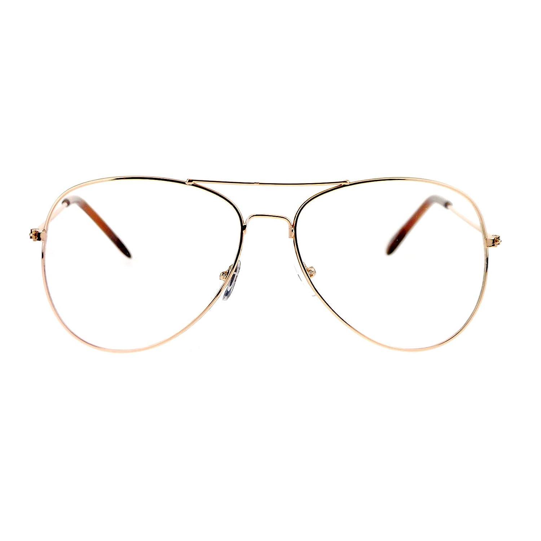 1a3ab5591595 Amazon.com: SA106 Classic Wire Rim Tear Drop Shape Pilot Clear Lens Eye  Glasses Black: Clothing