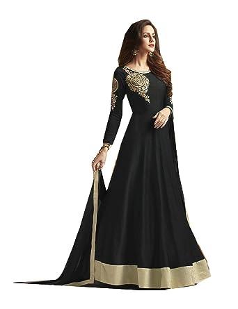 d63ecb5fc Indian Women Designer Partywear Ethnic Traditonal Black Anarkali Salwar  Kameez.