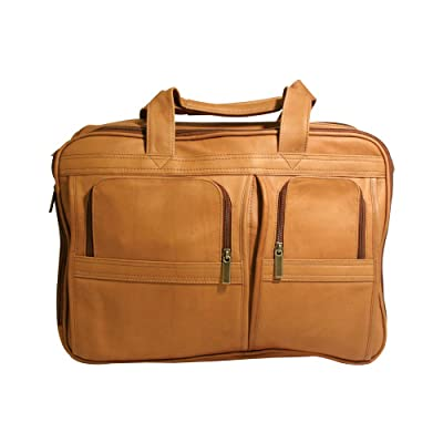 Millennium Leather Vaqueta Contemporary Laptop Briefcase Tan Vaqueta Napa