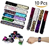 TERMATH 10 Pack Mermaid Slap Bracelet for Birthday Party, Multiple Colors Sequin, Party Supplies Gift for Girls, Boys, Kids,Men and Women