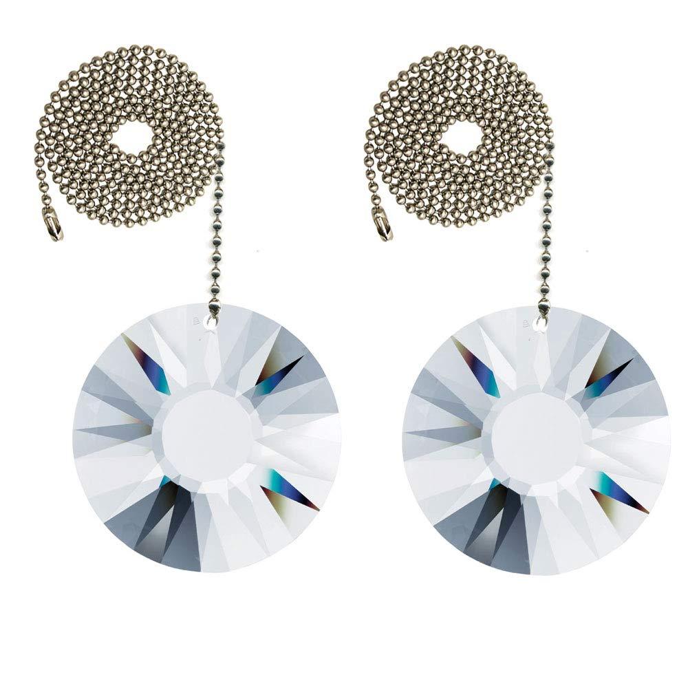 CrystalPlace Ceiling Fan Pull Chain 40mm Swarovski Clear Sun Prisms Decorative Fan Chain Pulls Set of 2