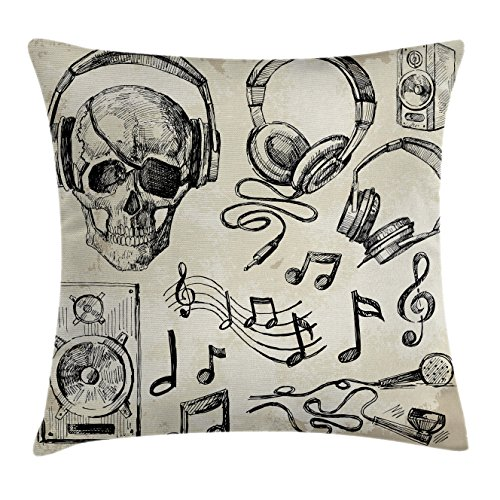 Music Throw Pillow Cushion Cover by Ambesonne, Sketchy Background Hipster Skull with Headphones Record Player Mic Speakers Print, Decorative Square Accent Pillow Case, 16 X 16 Inches, Beige Black