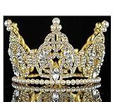 Janefashions Mini Bun Tiara Hair Crown Faux Pearl Austrian Rhinestone Cake Topper M2313G Gold (Gold Color)