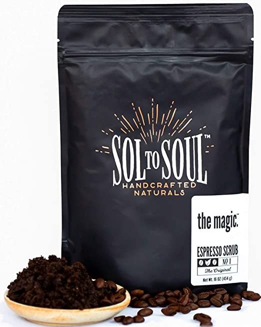 The Magic Espresso Coffee Scrub - 100% Natural Arabica, Cellulite and Wrinkle Reducing, Skin Plumping and Firming, Intensely Moisturizing and Invigorating Face and Body Sugar Scrub Best Coffee Scrubs