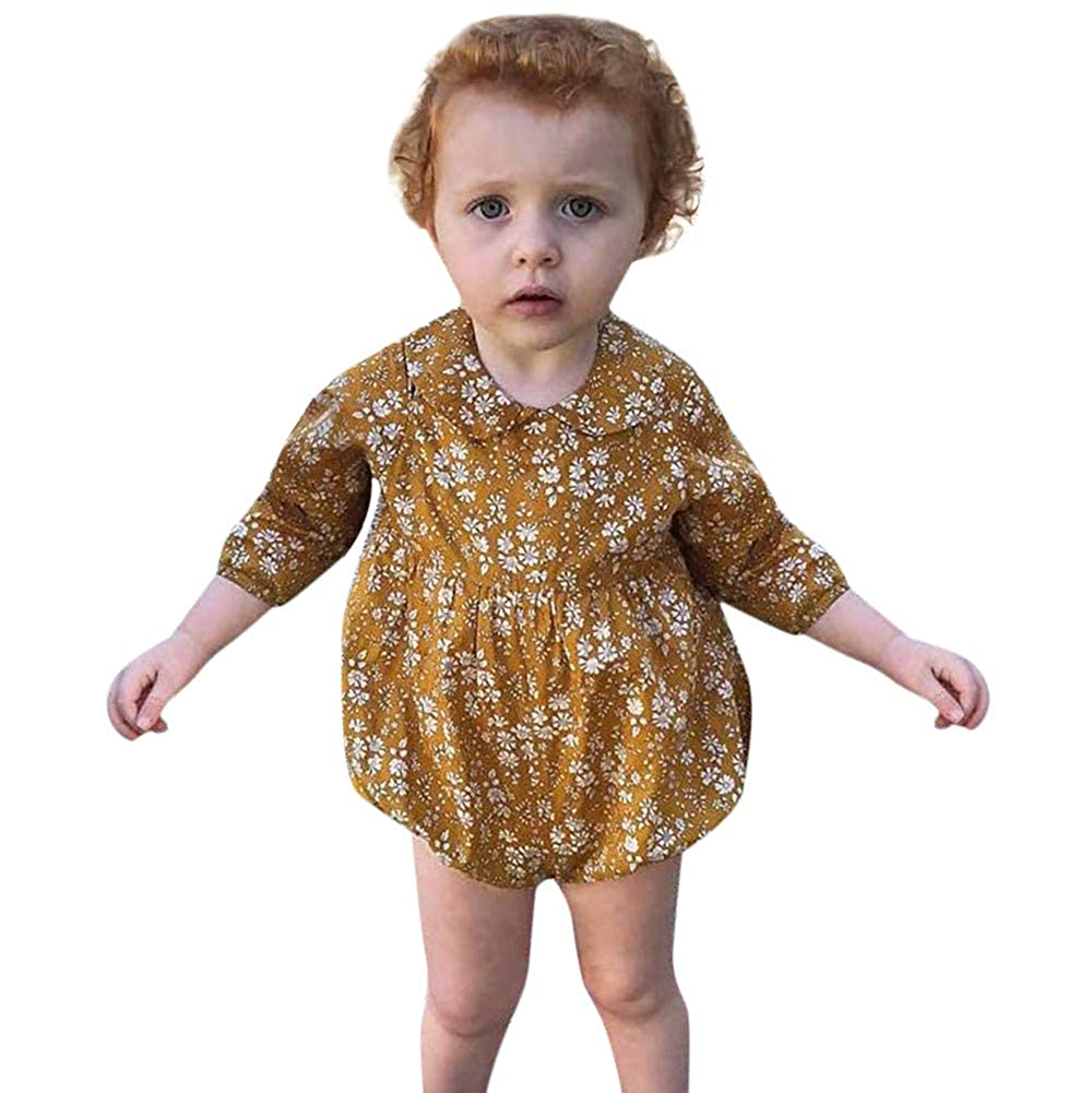 Baby Girl Romper, Fineser Fashion Infant Toddler Baby Girl Long Sleeve Floral Print Doll Collar Romper Jumpsuit Clothes 6-24M