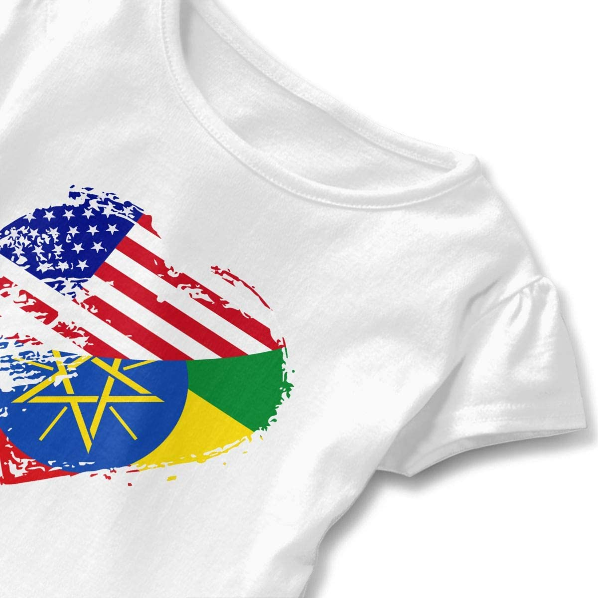 26NSHIRT Ethiopia American Heart Flag Toddler Baby Girl Short Sleeve Fashion T-Shirts