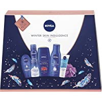 NIVEA Winter Skin Indulgence Gift Set for Her (6 Products), Beauty Gifts for Women, Skincare Gifts for Her, Winter Gift Set for Beautiful-Looking Skin, with Shower Puff