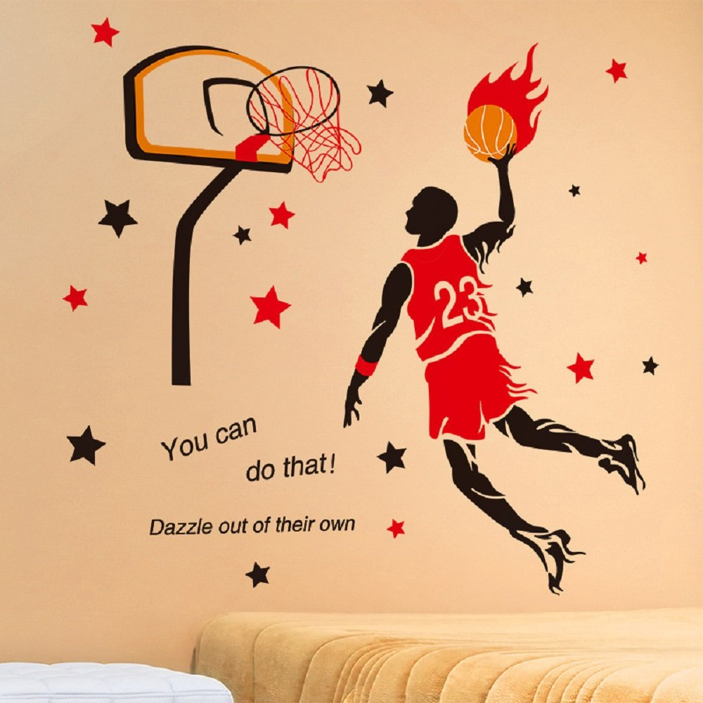 Amaonm Creative 3D Basketball Player Dunk Basketball Star Wall Decals Removeable Walls art Decor DIY Wall Sticker Home Decorations Decal Nursery Sticker for Boys Room Living room Bedroom (Red)