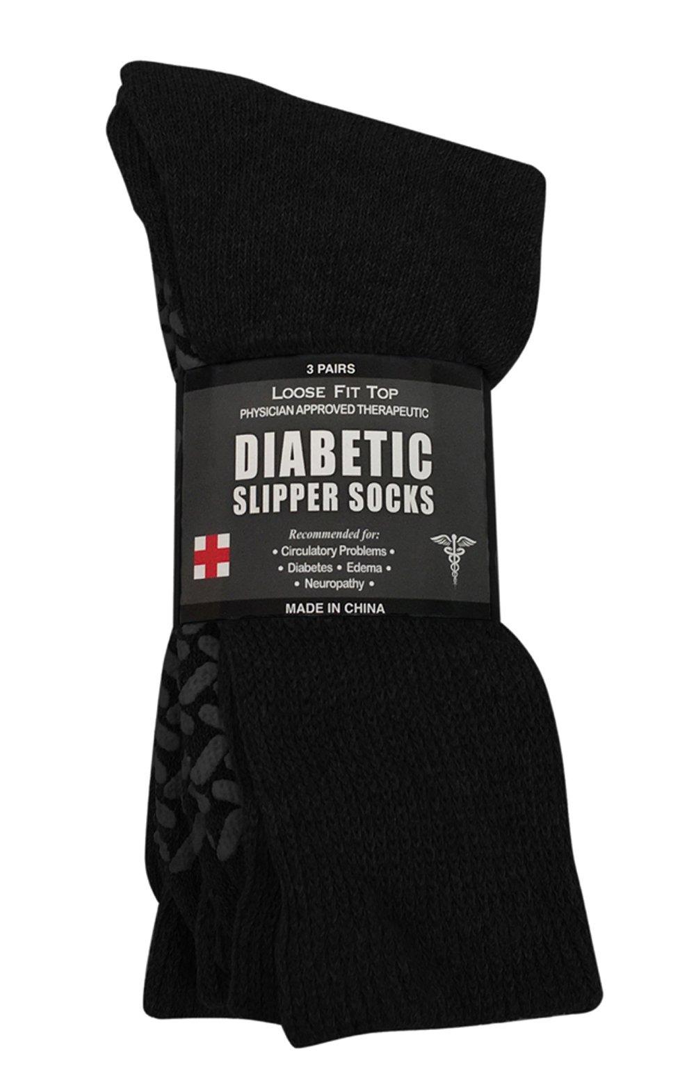Diabetic Socks Unisex- Non Skid Hospital Loose Fitting Slipper Socks with Gripper Bottoms - 12 Pack Savings - Gripper Socks (Size 10-13 Black)