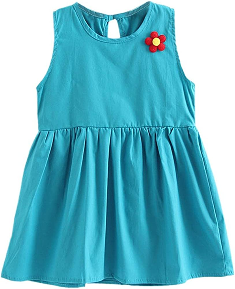 MiyaSudy Baby Girl Solid Sleeveless Dress Kids Girls Cotton Casual Sundresses Summer Clothes