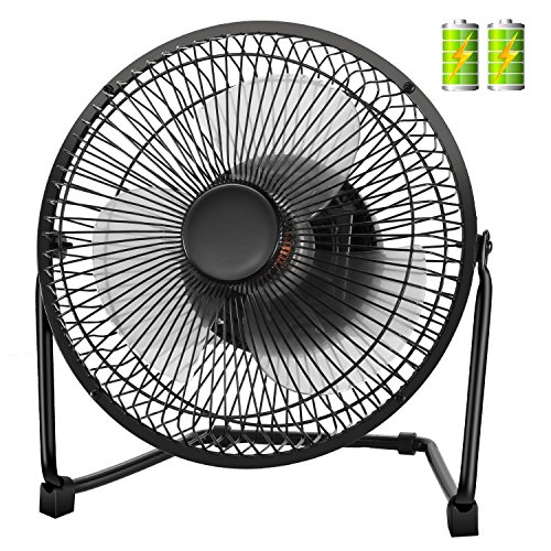 COMLIFE USB Desk Fan, 4400mAh Rechargeable Battery Operated Portable Personal Fan with 9 inch Metal Frame, Two Speeds, Quiet Operation for Home, Office, etc. -