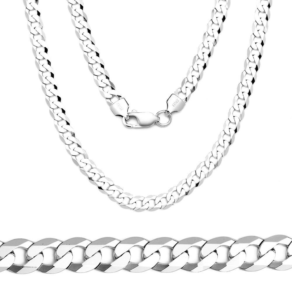 Unisex 3mm Solid Sterling Silver .925 Curb Link Chain Necklace, Made in Italy (24 Inches)