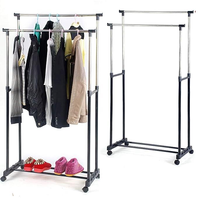 amdirect doble barra para colgar ropa, ajustable accesorio de sobre ruedas con zapato estante: Amazon.es: Ropa y accesorios