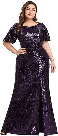 Ever-Pretty Sirena Vestido de Fiesta Cuello Redondo Manga Corta Tul Tallas Grandes para Mujer EZ07707-EU2