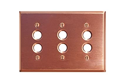 Switchplates Brushed Solid Copper Triple Pushbutton Switch Plate