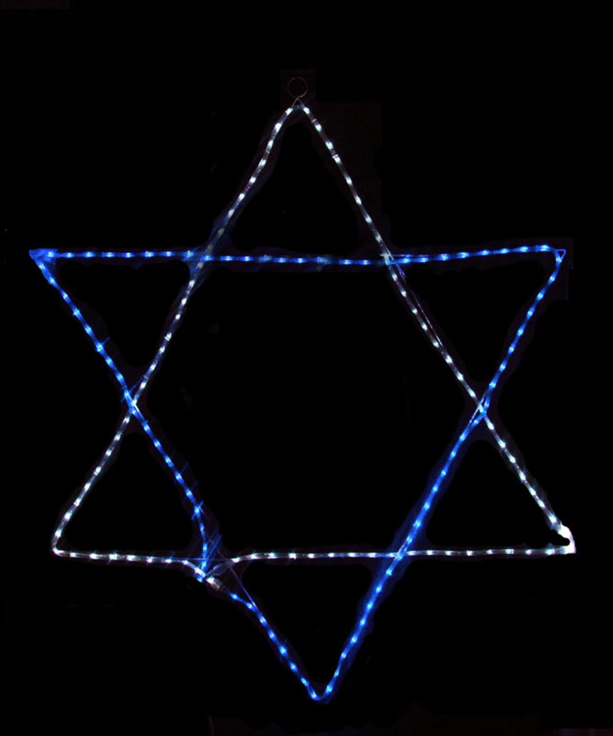 60'' Blue and White LED Rope Light Star of David Hanging Hanukkah Decoration