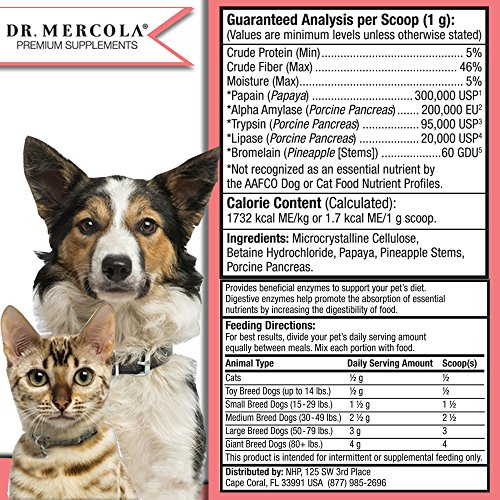 Dr. Mercola Digestive Enzymes For Pets - Dietary Supplement For Cats & Dogs - Contains 5 Enzymes - 5.26 oz by Dr. Mercola (Image #2)