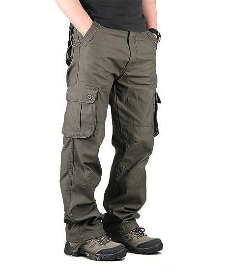 79c34f410 Pantalon de Travail Pantalon Cargo Homme Pantalon Multipoches pour Homme  Gris FR48 (Tag 38)