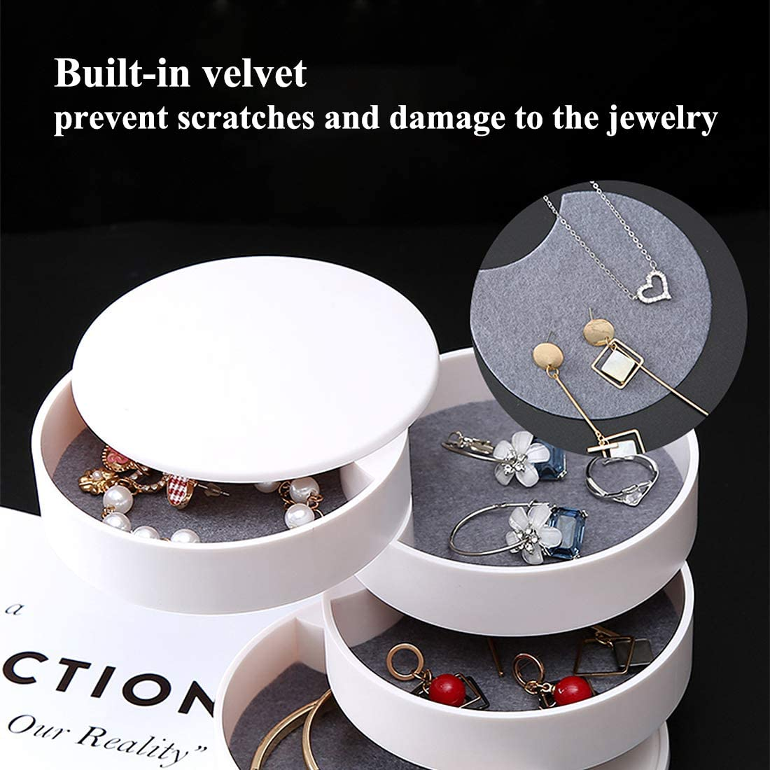 Jewelry Display Box Organizer Flannel Round Portable Travel Storage Case BI