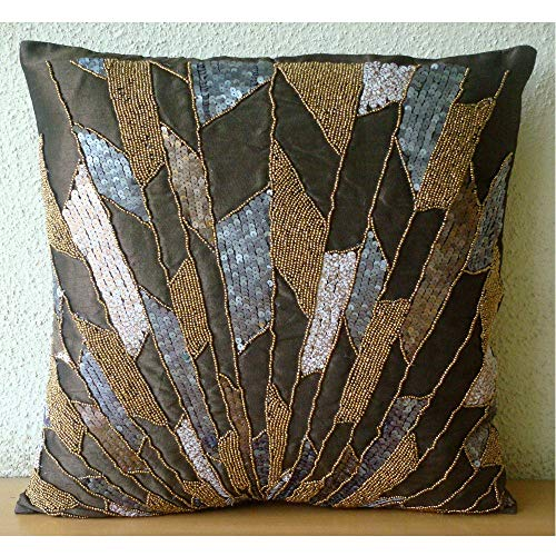 (Luxury Chocolate Brown Pillows Cover, Geometric Sequins & Beaded Pillows Cover, 18