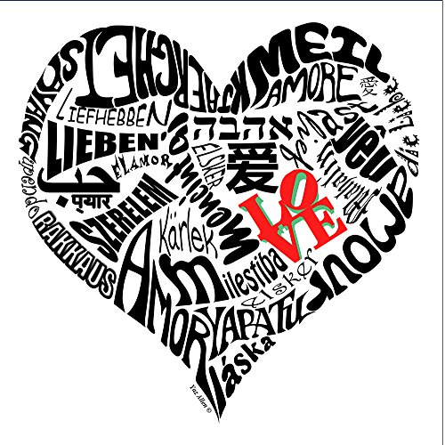 Love in 30 Different Languages Typography Canvas Art Print (12x12, Black and White) (Amaze Art Gallery)