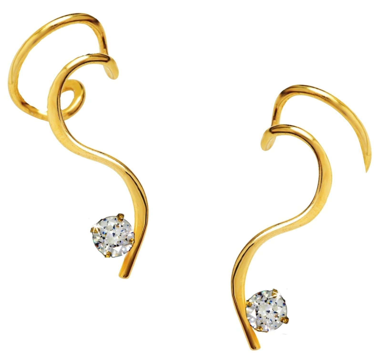 Ear Charms Ear Cuff Simple 'S' with CZ Non-pierced Earring Wraps 'One-Liner' Pair Gold on Silver