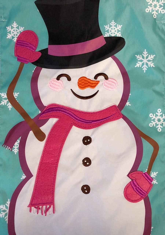 Briarwood Lane Waving Snowman Winter Applique Garden Flag Top Hat 12.5