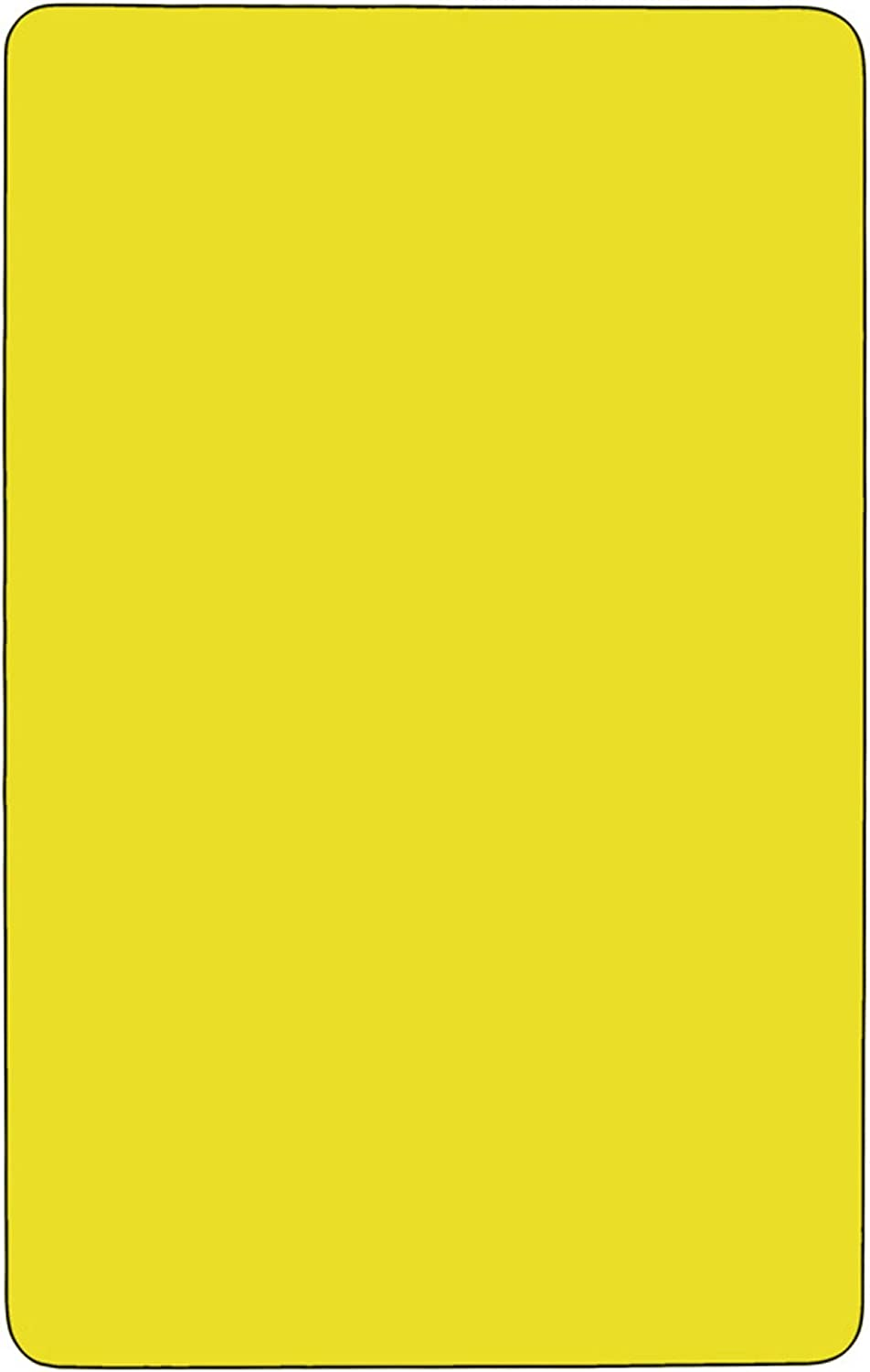 F/&F Furniture Group 30.500 Yellow Rectangular HP Laminate Activity Table with Standard Height Adjustable Legs