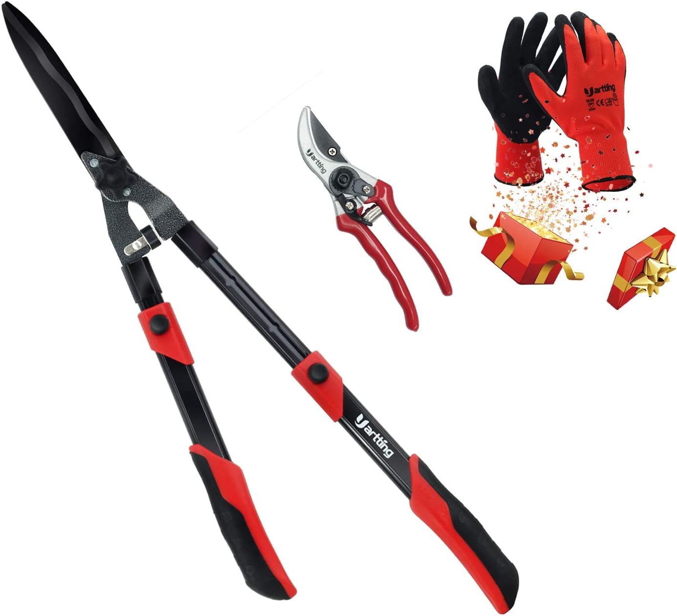 Yartting Extendable Hedge Shears & Sharp Hand Pruner Set, Garden Hedge Clippers with 3 Layers Telescoping Aluminum Lightweight Handle, for Trimming Borders, Boxwood, and Bushes. (Black)