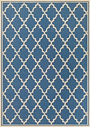 Couristan Monaco Collection Ocean Port Rug, Azure/Sand, 9 by 12-Feet