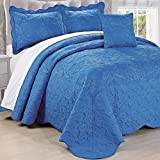 Home Soft Things Serenta Damask 4 Piece Bedspread Set, Queen, Palace Blue