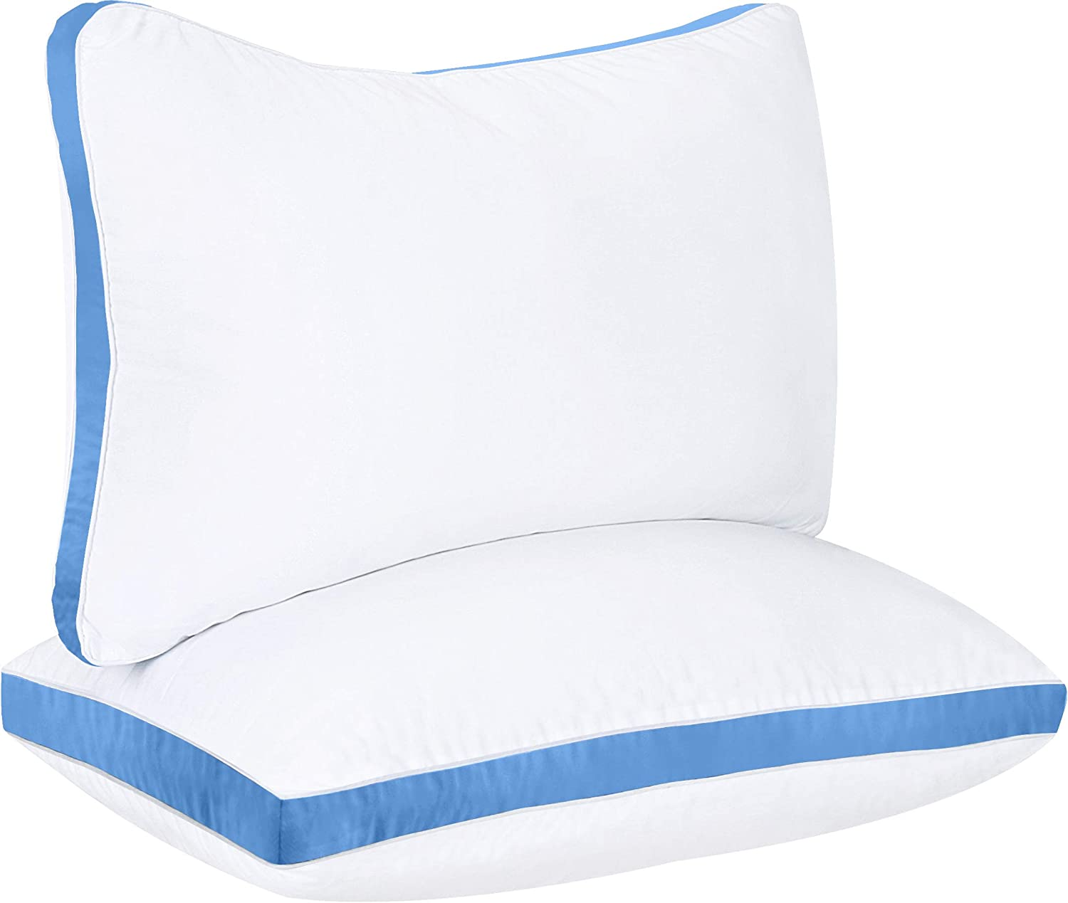 Utopia Bedding Gusseted Pillow (2-Pack) Premium Quality Bed Pillows - Side Back Sleepers - Blue Gusset - Queen - 18 x 26 Inches: Home & Kitchen