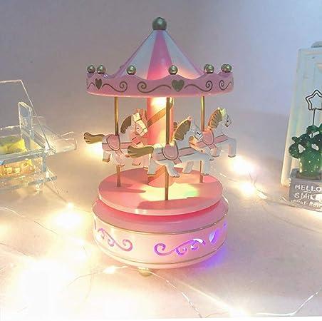 Carrousel Musical Adulte Femme Cr/éatif Bo/îte /à Musique en Bois Music Box avec Lampe Lumineux Tour de Man/ège D/écoration de Maison Chambre DIY Bo/îte Musical Cadeau danniversaire No/ël au Gar/çon Fille