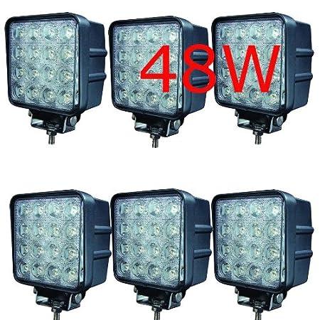 6 piezas Miracle 48W Led Faro de Trabajo Luz Faro Coche Moto luces antiniebla Blanca L/ámpara