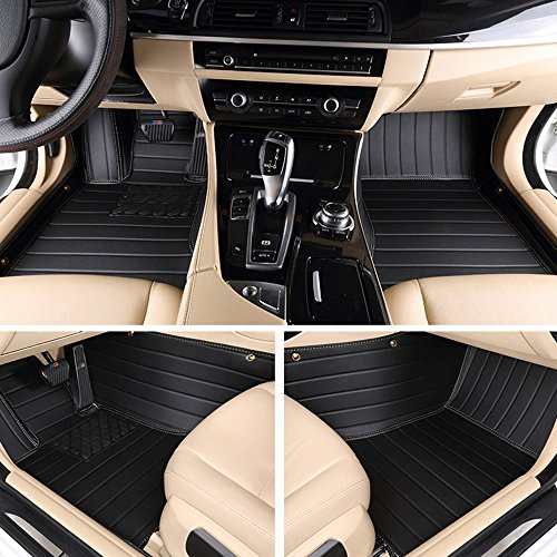 Cool Car Custom Fit waterproof Full Set Floor Mats XPE Leather Carpet Premium Plus Detachable Car mats for Mercedes Benz SLK Class SLK200 250 300 350 55 AMG (2PC Set) 2010-2016 (Monolayer, Black)