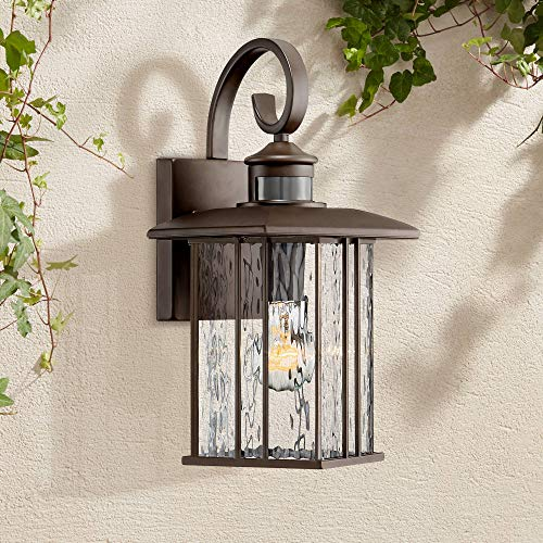 "Deaver Modern Outdoor Wall Fixture Bronze 15 1/4"" Clear Water Glass Lantern Dusk to Dawn Motion Security Sensor for Exterior Porch - John Timberland"