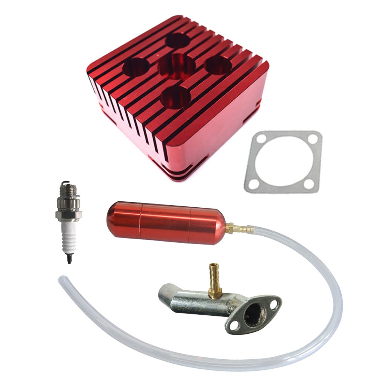 JRL Red CNC Square Cylinder Head Power Boost Bottle Fit 80cc Motorized Bike Engine Huang Machinery