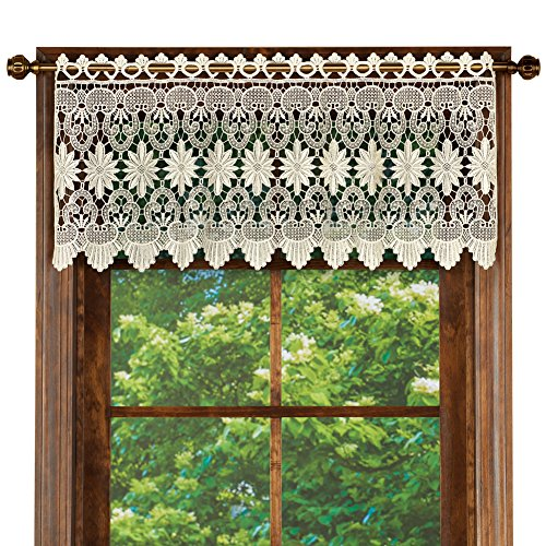 Collections Etc Macrame Curtain Scalloped Valance Window Topper for Bathroom, Bedroom, Kitchen, Ivory ()