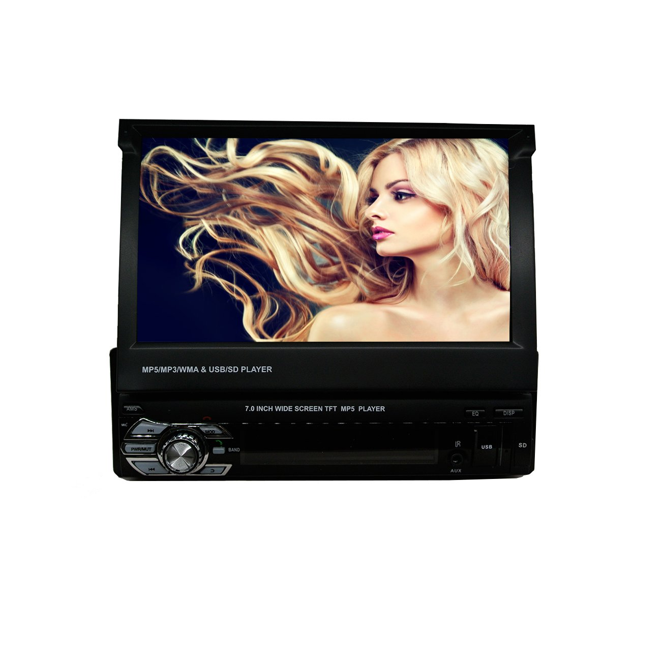 Ezonetronics Single Din 7 inch Slip Down Car Stereo,in Dash 1080P TFT/LCD Touch Screen Car FM Radio Receiver with USB/SD,MP4/MP5 Car Player Support Rear Camera for Universal (No DVD) CW9601