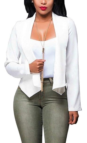 Chaquetas Mujer Primavera Otoño Moda Blazer Negocios Oficina Joven Elegantes Manga Larga Delgado Irregularmente Corto Abrigos Outerwear Colores Sólidos ...