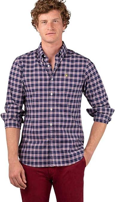El Ganso - Colección AW19 - Camisa Oxford de Cuadros - para Hombre - Manga Larga - Cuello de Doble Botón