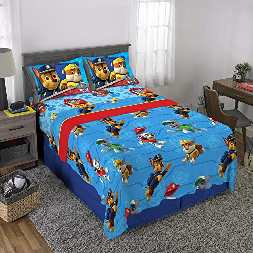 Nickelodeon Paw Patrol Kids Bedding Soft Microfiber Sheet Set, Full Size 4 Piece Pack, Blue/Red Design ()