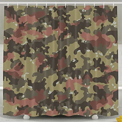 Green Effect Camouflage Shower Curtain Repellent Fabric Mildew Resistant Machine Washable Bathroom Anti Bacterial Polyester