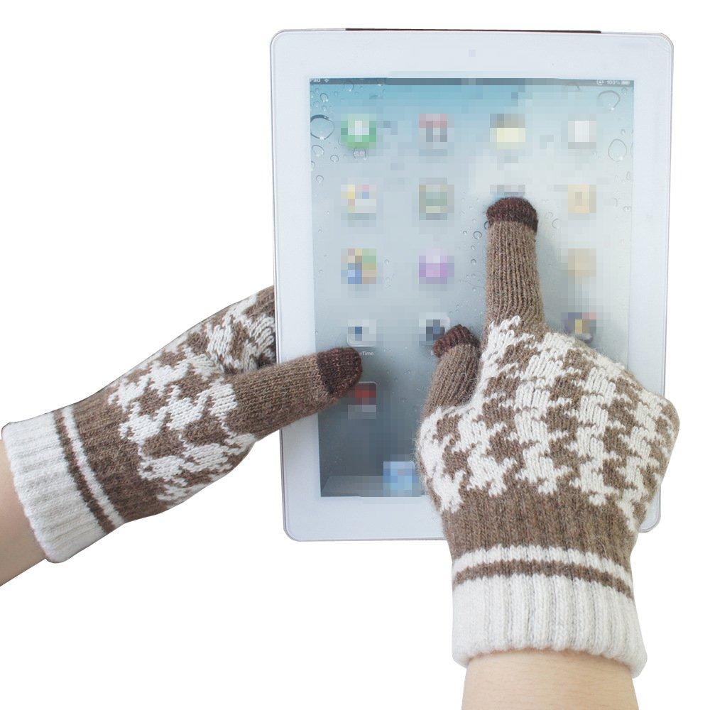 LI& HI Damen Accessory gestrickte paare Handwärmer Induction Fingern berühren Hahnentritt Wolle Touch warme Wolle Handschuhe Handschuhe warme Handschuhe (für IPHONE / SUMSUNG / iPad / HTC etc.) - Mehrere Farben