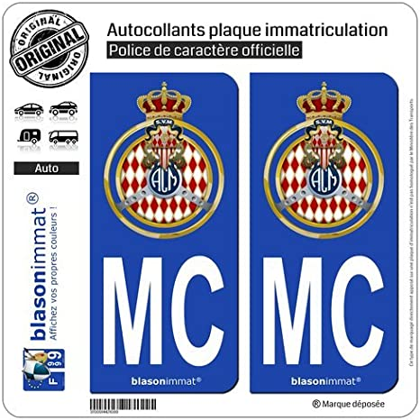 2 Autocollants Plaque immatriculation Auto MC Automobile Club de Monaco Blason